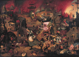 En renässansmålning av en kvinna med svärd och pansar i ett kaotiskt krigslandskap.