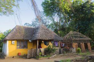 Violan koti Makongenin kylässä Keniassa. Keltainen ruokokattoinen talo, pyykkiä kuivamassa narulla.