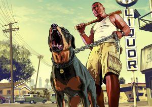 Kuva pelistä Grand Theft Auto 5, tummaihoinen mies seisoo rotwailerin kanssa uhmakkaana pesäpallomaila kädessään.
