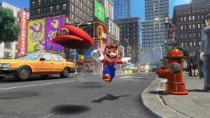 Kuva pelistä Super Mario Odyssey, Mario juoksee hattunsa perässä kaupungissa.