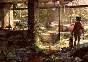 Tyttö kantaa reppua talon raunioissa pelissä the Last of Us.