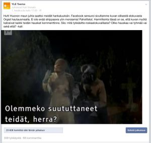 Teeman Facbook-julkaisu, aiheena Orgiat hautausmaalla ja Facebookin sensuuri