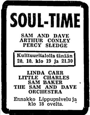Soul Time -kiertueen konsertti-ilmoitus Helsingin Sanomissa.