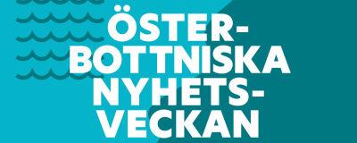 Logo med ljusblå och mörkblå bakgrund och symboler av vågor. Text ovanpå bakgrunden är Österbottniska nyhetsveckan.