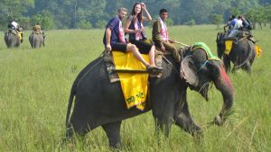 Två turister rider på en elefant,