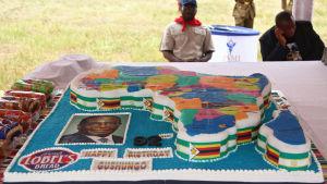 En av de stora tårtårna som bjöds på Mugabes lyxfödelsedag.