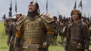 """(L-R) Daulet Abdigaparov, Benedict Wong and Lorenzo Richelmy in a scene from Netflix's """"Marco Polo."""""""