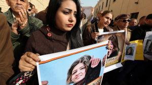 Demonstranter drog ut på gatorna i Bagdad förra veckan efter att Afrak Shawqi hade kidnappats