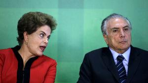 Dilma Rousseff och Michel Temer under en gemensam presskonferens 29.3.2016