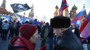 Inte många deltog i firandet av 2-årsdagen för ockupationen av Krim i Moskva den 18 mars 2016.