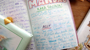 Ett dagboksinlägg där halvan sidan är fylld av namnet NIKO.