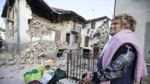 Accumoli i Italien drabbades hårt av jordbävningen.
