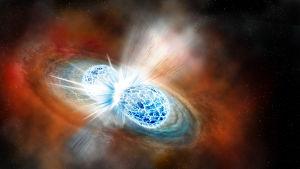 Illustration på neutronstjärnor som kolliderar.