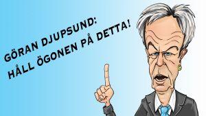Karikatyr av Svenska Yles valexpert Göran Djupsund
