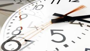 En klocka med visare som snurrar runt.