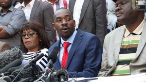 Oppositionsledaren Nelson Chamisa vägrar att acceptera presidentvalets resultat