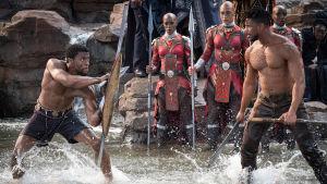 Michael B. Jordan ja Chadwick Boseman taisteluasetelmissa. Kuva elokuvasta Black Panther.