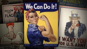 Kollaasi tunnetuista propagandajulisteista, keskimmäisenä hauista näyttävä nainen ja teksti We can do it!