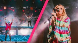 Stereo-duo lavalla Ruisrockissa. Jere Marttila ja Leo Hakanen seisovat toinen lavalla, toinen DJ-pöydän päällä kädet kohti kattoa, kollaasikuvassa myös mikrofoniin alakuloisen näköisenä nojaava Ellips.