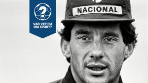 Ayrton Senna ser in i kameran.