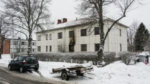 Huset på  Brahegatan i Karleby där det brann.