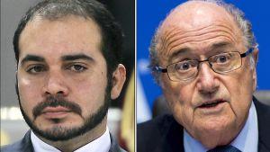 Jordaniens prins Ali bin Al Hussein (till vänster) förutspås bli fotbollsförbundet Fifas nya ordförande. Till höger Fifas hårt kritiserade ordförande Sepp Blatter.