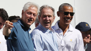 De forna presidenterna Bill Clinton, George W. Bush och Barack Obama deltog i en golftävling i september