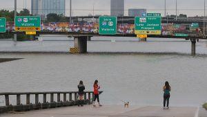 En grupp människor tittar på en översvämmad korsning i Houston.