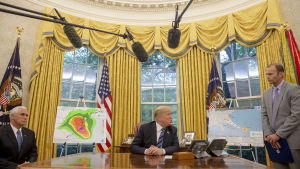 Vice president Mike Pence, president Trump och Brock Long från katastrofmyndigheten FEMA talar om orkanen Florence i Ovala rummet. 11.9. 2018.