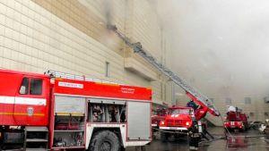 Brand i köpcentrum i sibiriska Kemerovo.