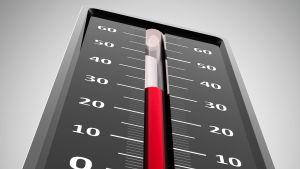 En termometer visar att det är 30 grader varmt.