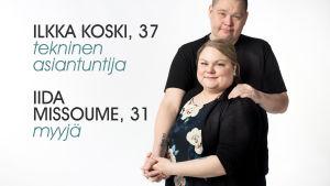 Ilkka Koski ja Iida Missoume studiokuvassa.