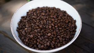 kahvipapuja astiassa