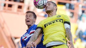 Niklas Moisander förlorade nickduellen mot Inters Mauro Icardi.