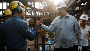 Nicolás Maduro på industribesök i Guayana, Venezuela 6.3.2019