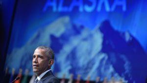 Barack Obama talade under arktiska miljökonferensen i Alaska.