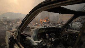 Förstörelse i Glen Ellen, Sonoma efter att en storbrand rasat genom staden.
