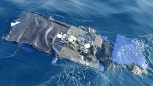Bråte från det kraschade passagerarplanet, Lion Airs flight JT610, på havsytan utanför Javas nordvästra kust.