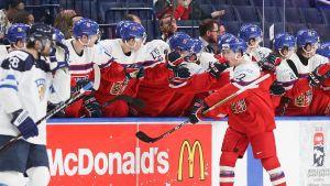 Tjeckien firar ett mål i JVM-kvartsfinalen mot Finland.