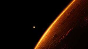 En illustration av den röda planeten Mars mot en bakgrund av svart rymd och en liten prick i bakgrunden som är solen.