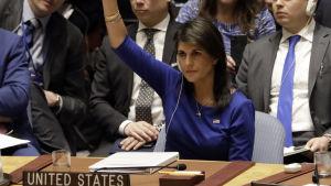 Nikki Haley röstar i FN:s säkerhetsråd.