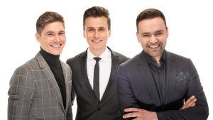 Eurovision laulukilpailun juontajat Oleksandr Skichko, Volodymyr Ostapchuk jaTimur Miroshnychenko.