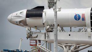 Rymdfarkosten Spacex Falcon9 redo förbereds inför uppskjutning den 27 maj 2020.