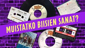 Kuvassa DIngon levyjä ja kasetteja.