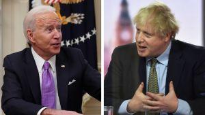 Ett bildmontage med en bild på USA:s president Joe Biden och Storbritanniens premiärminister Boris Johnson.