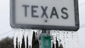 """-Förfrusen skylt med texten """"Texas""""."""