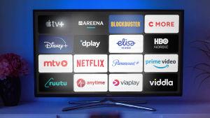 En skärm med logon av olika streamingtjänster.