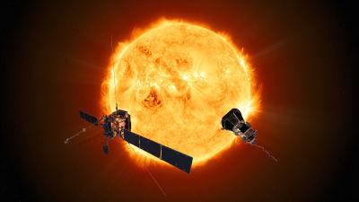 Solen och rymdsonderna Solar Orbiter och Parker.