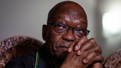 Sydafrikas före detta president Jacob Zuma i närbild.
