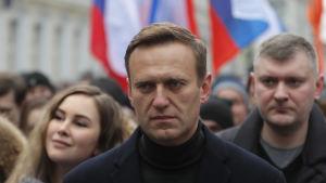 Aleksej Navalnyj under un march till minnet av den mördade oppositionspolitikern Boris Nemtsov. Bilden tagen i Mokva den 29 februari.